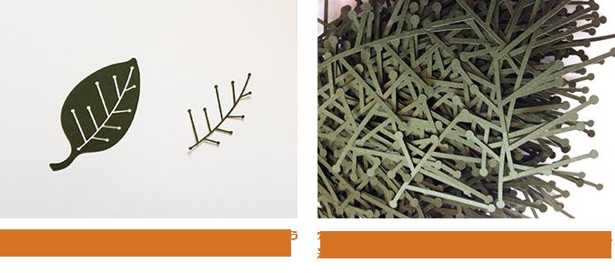 写真1:左は製品に使用する部分。右は廃棄されてしまうくりぬかれた部分。どちらも元は一枚の紙。  写真2:写真1の右側を集めたもの。集まるとより植物に近いものがあり、捨てるのをためらってしまいます。