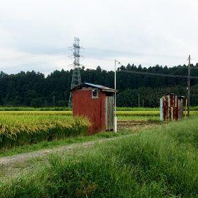 田んぼとポンプ小屋