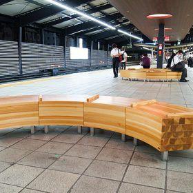 杉集成材のベンチ