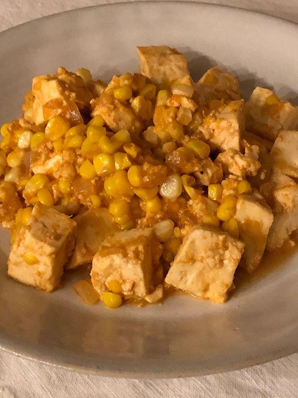とうもろこしの麻婆豆腐