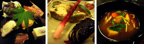 前菜7種盛り 手前がいなだ、鱸の鍔蓼焼きとヘタ紫茄子の蓮華焼き、あつめ汁