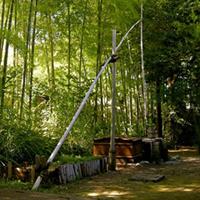 竹製の撥ね釣瓶(はねつるべ)。井戸の水を汲み上げます