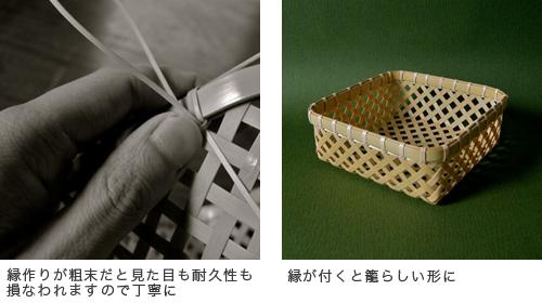 (左)縁作りが粗末だと見た目も耐久性も損なわれますので丁寧に (右)縁が付くと籠らしい形に