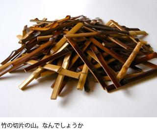 竹の切片の山。なんでしょうか。