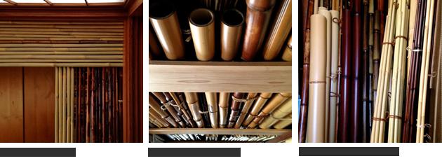 (左)下から見上げた様子(中央)太めの竹はべつな場所へ(右)よく使う材料のまとめ場所