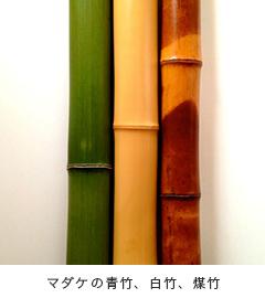 マダケの青竹、白竹、煤竹