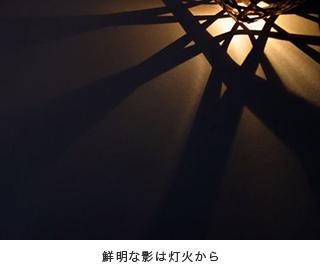 鮮明な影は灯火から