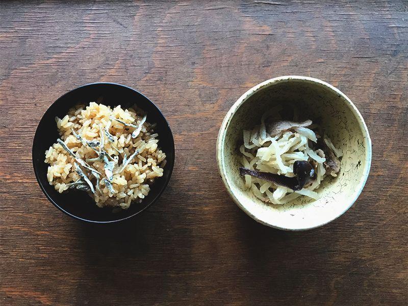 茶飯・切干大根ときくらげの煮もの