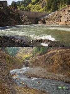 ホワイトサーモン川のダム撤去前(上)、撤去1年後に川下りをするカヌーイストたち(下)