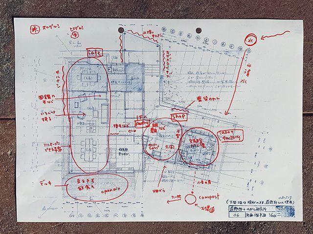 平面図のブループリントと初めのドローイング。