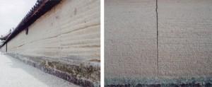 [左]奈良法隆寺の版築土塀 [右]版築土塀の表情