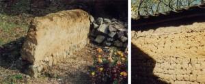 [左]泥小屋の版築のかたわれ(奈良山辺の道)[右]日干し煉瓦の土塀(奈良斑鳩)