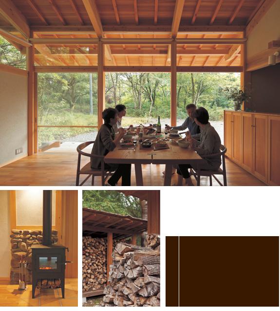 上/友人と食べて飲んで語らう贅沢な時間。 左下/特注の薪ストーブは銀色の座金を黒く塗装し、ストーブ下段のピザ用オーブンを薪入れに変更。 右下/家を建てる際に伐採した木を薪にしてストック。