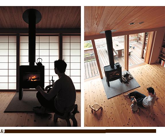左/炎と対話する贅沢なひととき。 右/炉壁が不要な対流式薪ストーブなら窓辺にも設置可能。