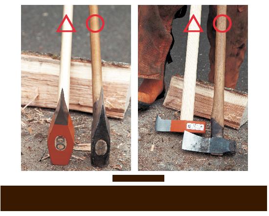 左/刃先がまっすぐな斧(左)より、ゆるやかにカーブした斧(右)の方が、繊維を開くように割ることができるのでおすすめ。 右/柄が太いもの(左)より、手元側が細くなったもの(右)の方が握りやすい。
