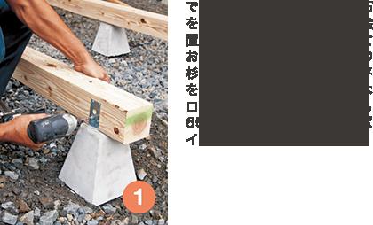 できるだけ平らな場所に、束石を前後5個ずつ855㎜間隔で設置する。