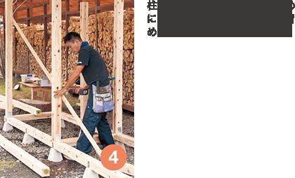 柱の水平を測り、固定するために仮筋違い(Fを2本)を仮留めする。