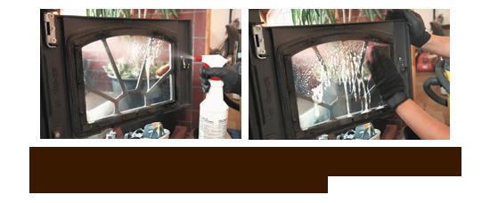 左/ガラス窓にガラスクリーナーを吹き付ける。 右/スポンジ(研磨剤なし)で拭く。タオルなどよりもスポンジのほうが落ちやすい。ひどい汚れには、アンモニア水等を用いる人もいる。