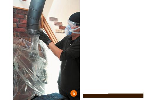 5:ポリ袋を外し、煙突をもとに戻す。