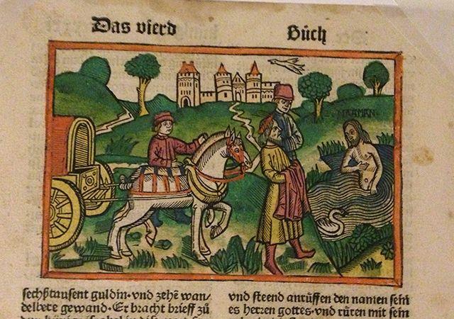 シェーンスペルガー聖書の当時手彩色木版 1490年