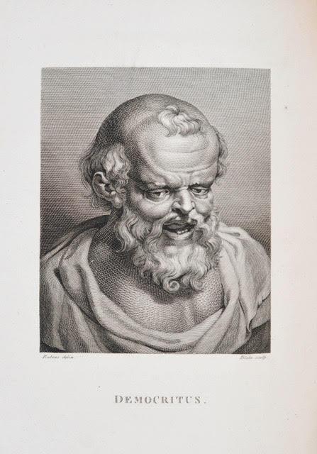 18世紀後半のヨーハン・カスパー・ラヴァーターの名著『観相学』より。ルーベンスの絵画を元に、ウィリアム・ブレークが版画に刻んだ、デモクリトスの顔の銅版画。今では超有名なブレークも一職人として働いていたことをうかがわせる一枚。