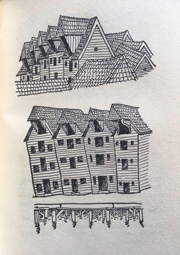 チャペックの1930年代の北欧旅行記より ノルウェーのベルゲンの木の家並み