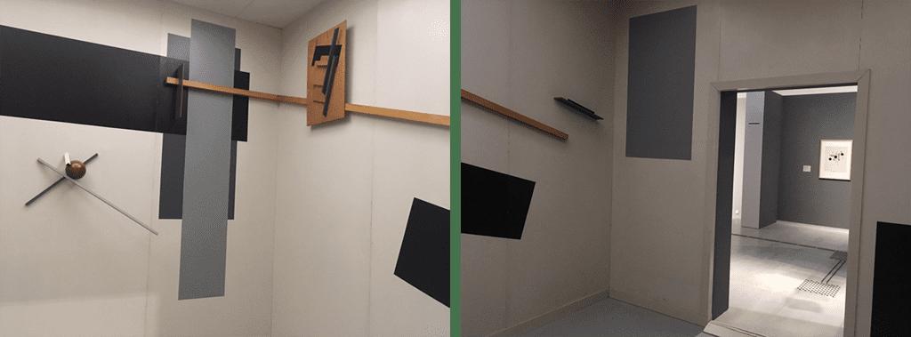 ベルリン美術館にて。1923年のリシツキー展示空間の再現。