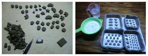 はじめにタイルの原型をつくり、石膏型を作ります。