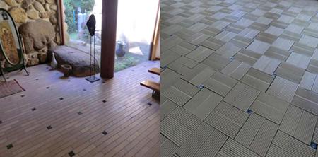 一般的には壁に使うタイルを床に施工し、手づくりのタイルを散りばめています