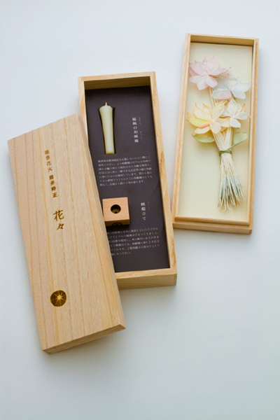 花々/はなはな 40本(1箱当たり)+和蝋燭+蝋燭立て 10,500円(税込)